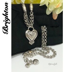 Brighton Necklace Silver Heart Double Link Chain